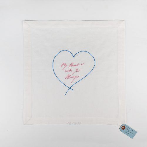 My Heart Is With You Always – Embroidered Napkin by Tracey Emin at Lougher Contemporary