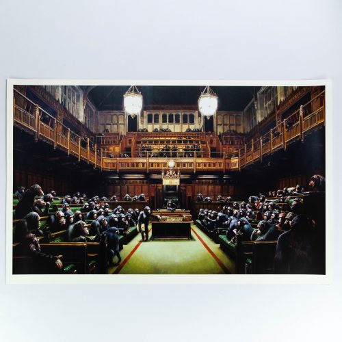 Monkey Parliament by Banksy at Lougher Contemporary