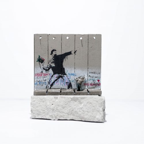 Walled Off Hotel – Wall Sculpture (Flower Thrower) by Banksy at Lougher Contemporary