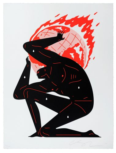 World on Fire (White) by Cleon Peterson at Dellasposa Gallery
