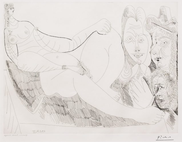 Femme au Lit avec Visiteurs…, from the 156 Series by Pablo Picasso at Leslie Sacks Gallery (IFPDA)
