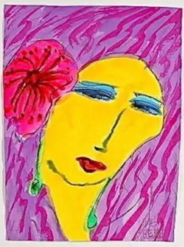 Woman with Pink Flower by Walasse Ting