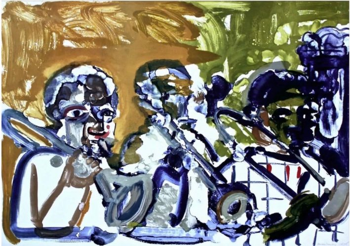 Brass Section (Jamming at Minton's) by Romare Bearden at
