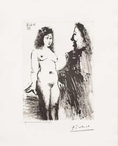 Jeune Prostitutee et Mousquetaire, from the 347 Series by Pablo Picasso at Leslie Sacks Gallery (IFPDA)