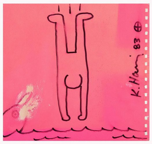 Dolphin & Diving Man; Unique Drawing on cover of Keith Haring / Tony Shafrazi Gallery Catalogue by Keith Haring