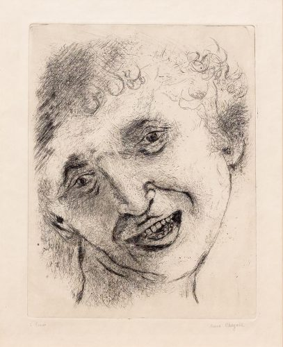 Self Portrait with a Laughing Expression by Marc Chagall at