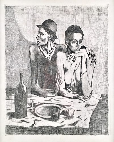 Le Repas Frugal from Suite des Saltimbanque, 1904 by Pablo Picasso at Andrew Weiss Gallery