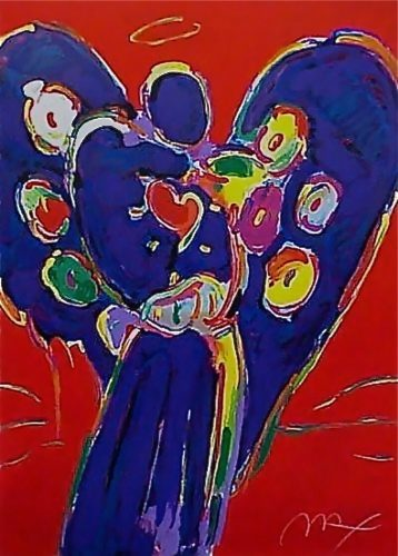 Angel with Heart on Red by Peter Max