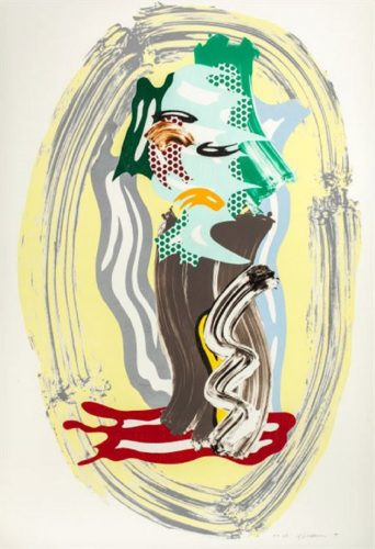Green Face from the Brushstroke Figures Series by Roy Lichtenstein at Surovek Gallery