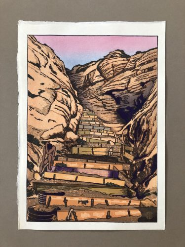 The Steps at Black's Beach: Sunset by Paul Binnie at