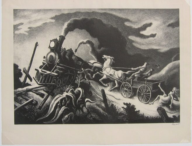 "Thomas Hart Benton ""Wreck of the Ol' '97"" by Thomas Hart Benton at Surovek Gallery"