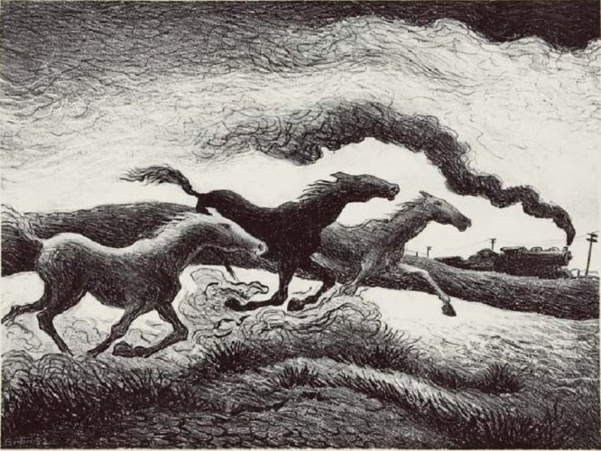 """Running Horses"" by Thomas Hart Benton at Surovek Gallery"