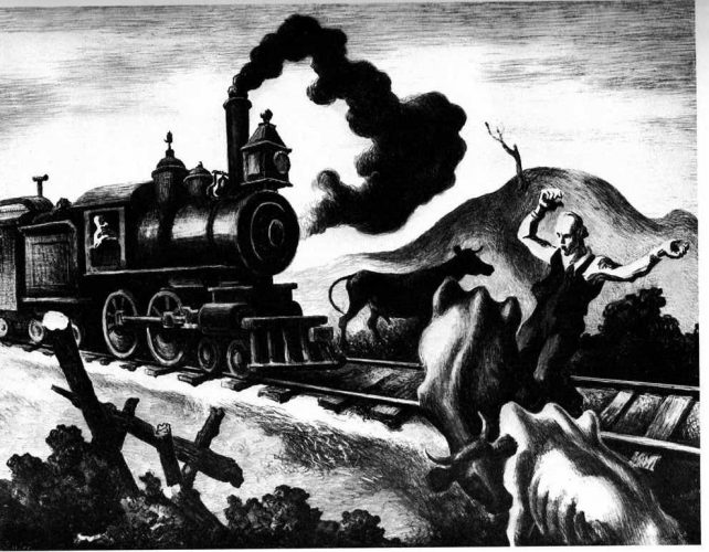 """Slow Train Through Arkansas"" by Thomas Hart Benton at Surovek Gallery"