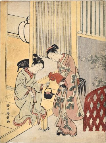 Silencing a Rooster with Sake by Suzuki Harunobu
