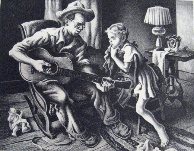 """Music Lesson"" by Thomas Hart Benton at Surovek Gallery"