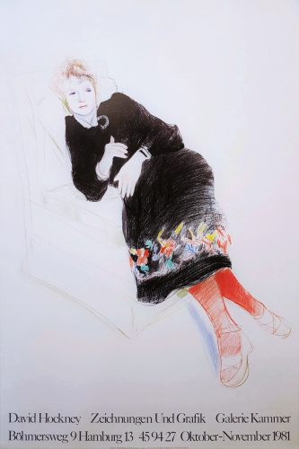 Galerie Kammer (Celia in a Black Dress and Red Stockings) by David Hockney at