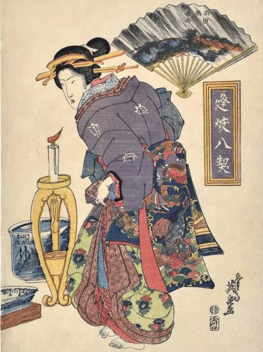 Eight Trysts of Geisha and Eight Views on Fans: Night Rain at Ryogoku Bridge by Keisai Eisen at