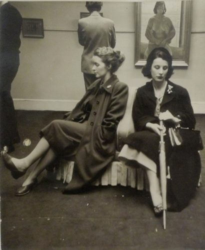 Two women in a Lucien Freud private view at Malborough Gallery, London (portrait of Henrietta Moreas... by Daniel Farson at