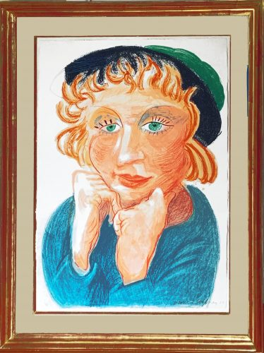 Celia with Green Hat by David Hockney at