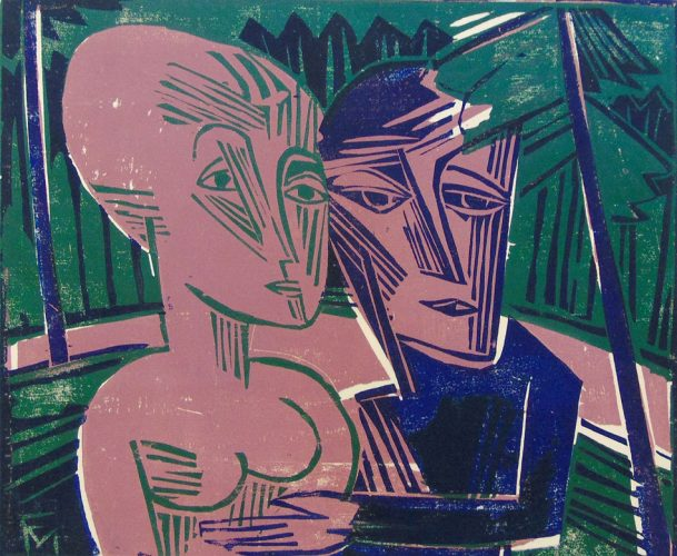 People in the Forest (Couple in the Forest) | Menschen im Wald (Paar im Wald) , 1918 by Conrad Felixmüller at