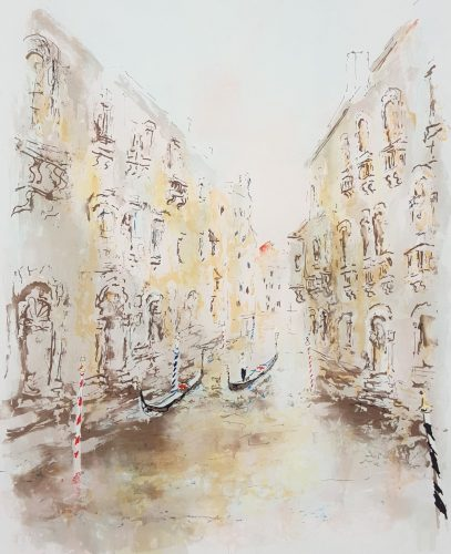 Little Canal in Venice by Urbain Huchet at