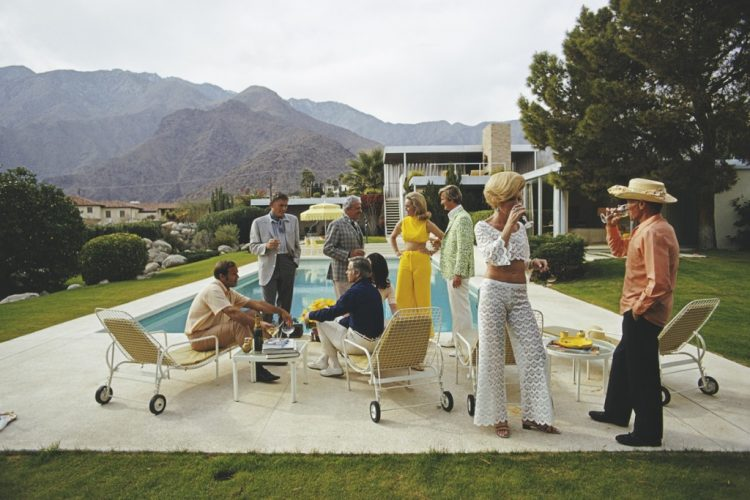 'Desert House Party' 1970 Limited Edition Estate Stamped Slim Aarons C print. by Slim Aarons at