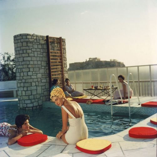 ' Penthouse Pool ' Slim Aarons Limited Estate Stamped C Print by Slim Aarons at Slim Aarons