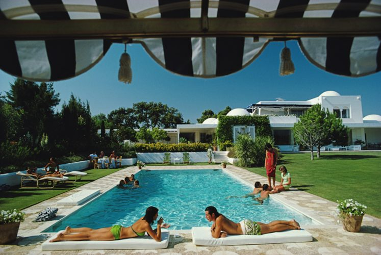 ' Poolside In Sotogrande ' 1975 Slim Aarons Estate Stamped C Print by Slim Aarons at Slim Aarons