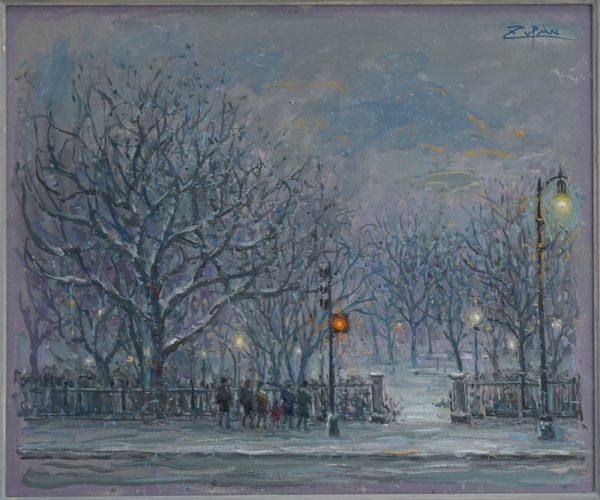 Entrance to Boston Public Garden, Snowy Afternoon by Bruno Zupan at