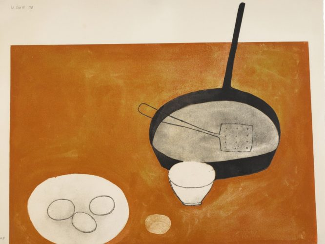 Still life with frying pan, 1973 by William Scott at