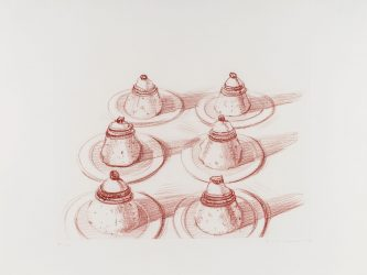 Six Italian Desserts, from Recent Etchings II by Wayne Thiebaud at Leslie Sacks Gallery (IFPDA)