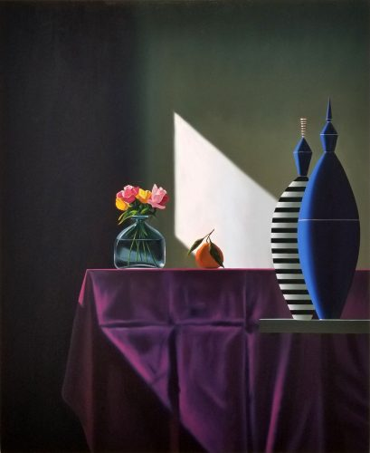 Blue and Striped Vessels Next to Purple Tablecloth by Bruce Cohen at Leslie Sacks Gallery (IFPDA)