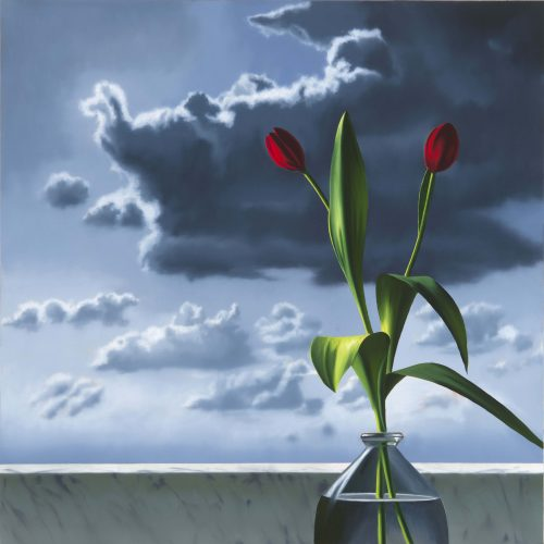 Red Tulips Against Cloudy Sky by Bruce Cohen at