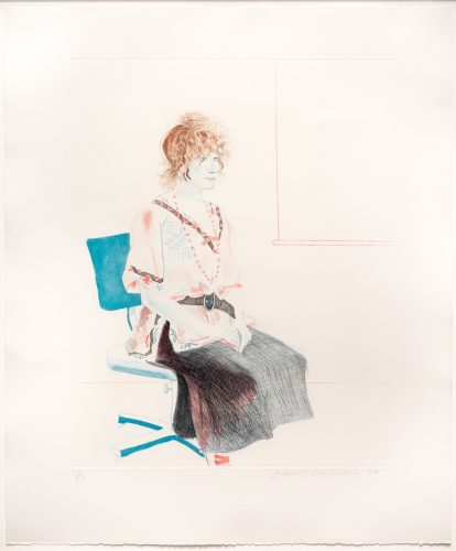 Celia Seated on an Office Chair by David Hockney at David Hockney