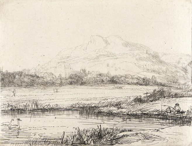 Canal with Angler and Two Swans by Harmensz van Rijn Rembrandt at