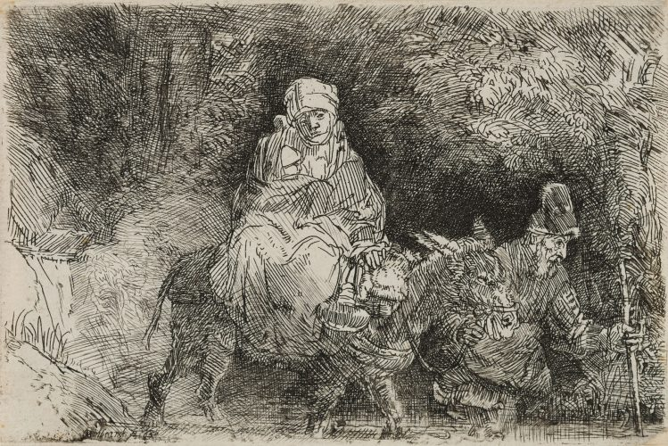 Flight Into Egypt:  Crossing a Brook by Harmensz van Rijn Rembrandt at