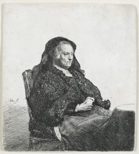 The Artist's Mother seated at a table, looking right: Three quarter length by Harmensz van Rijn Rembrandt at