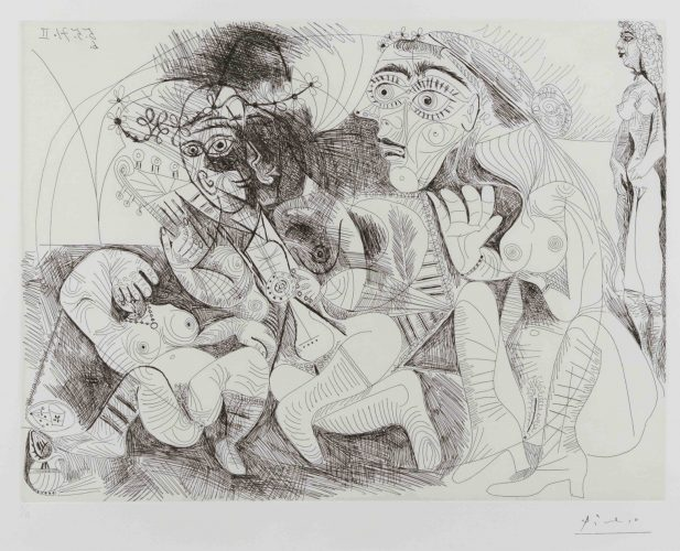 Filles Entre Elles- La Recreation en Masque, from the Series 156 by Pablo Picasso at Leslie Sacks Gallery (IFPDA)