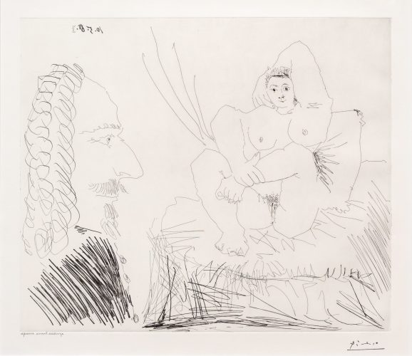Courtisane au Lit avec un Visiteur, from the 347 Series by Pablo Picasso at Leslie Sacks Gallery (IFPDA)