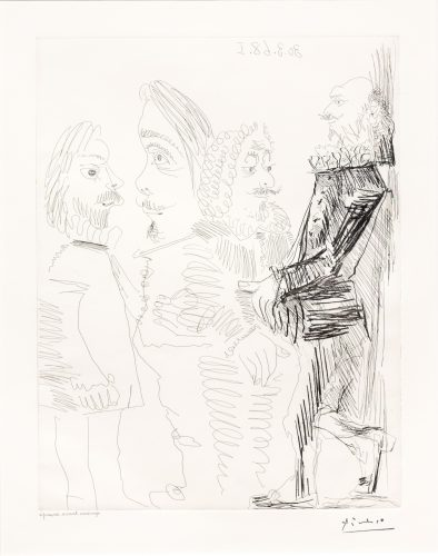 Quatre Hommes en Costume…, from the 347 Series by Pablo Picasso at Leslie Sacks Gallery (IFPDA)