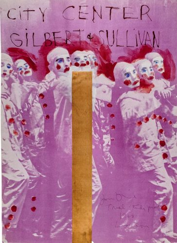 """Hand painted City Center, New York """"Gilbert and Sullivan"""" 1968 poster by Jim Dine at"""