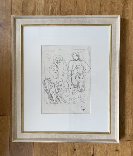 Study for the decoration of the Chapel of Notre Dame de Jerusalem at Frejus by Jean Cocteau at