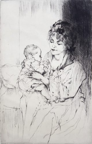 Young Mother (Tiny Little Hands) by Auguste Brouet at