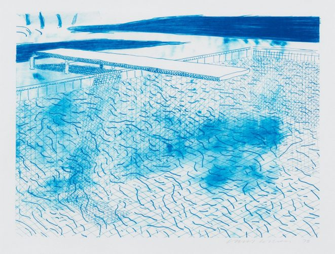 Lithograph of Water made of Lines by David Hockney at