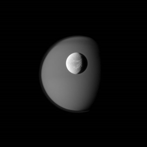 ' Dione with Titan ' 2010 Science Photo Library Print by Science Photo Library Archive at Science Photo Library Archive