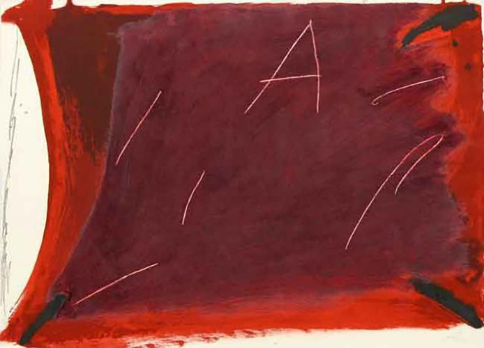 A Damunt Vermell 1 by Antoni Tapies at