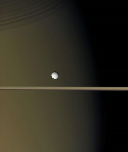 ' Enceladus Above Saturn's Rings ' 2006 Science Library Print by Science Photo Library Archive at Science Photo Library Archive