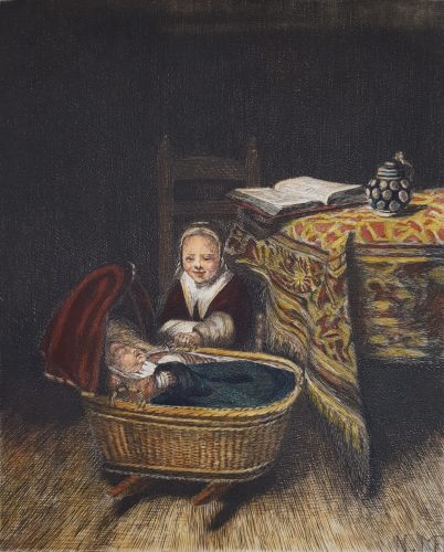 The Cradle by Nicolaes Maes at