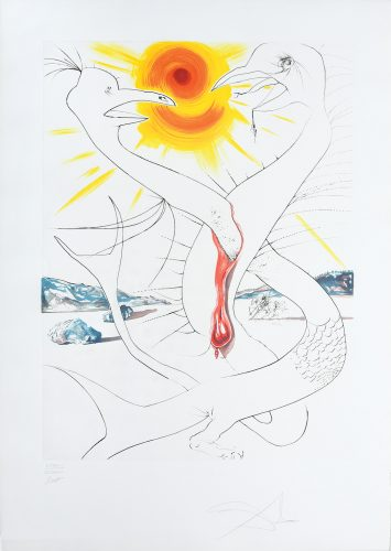 La Caducée de Mars alimenté par la boule de feu de Jupiter. (The Caduceus of Mars Nourished by Jupit... by Salvador Dali at