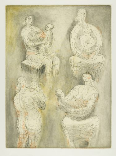 Four Mother and Child Studies by Henry Moore at
